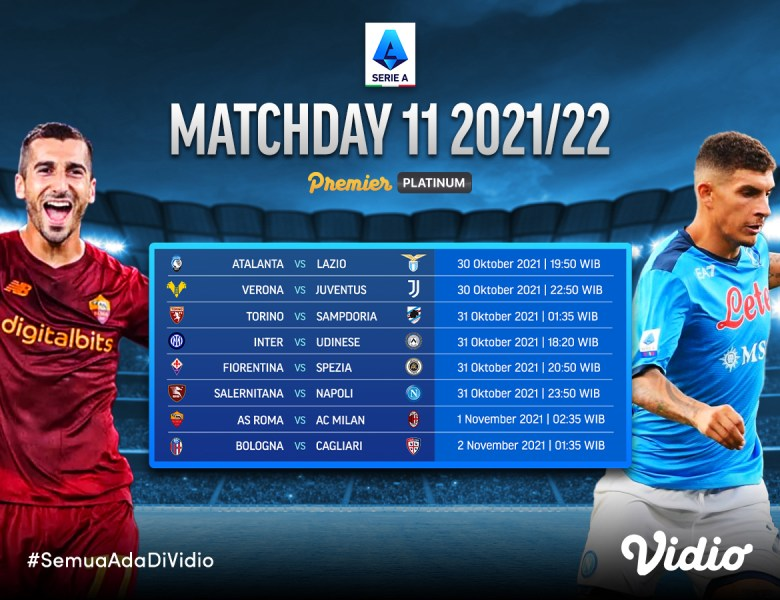 Link Live Streaming Serie A Liga Italia 2021/22 Giornata 11