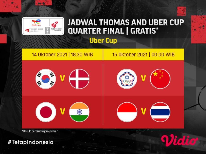 Uber Cup 2020: Lawan Thailand, Ini Jadwal Live Streaming Indonesia di Perempat Final
