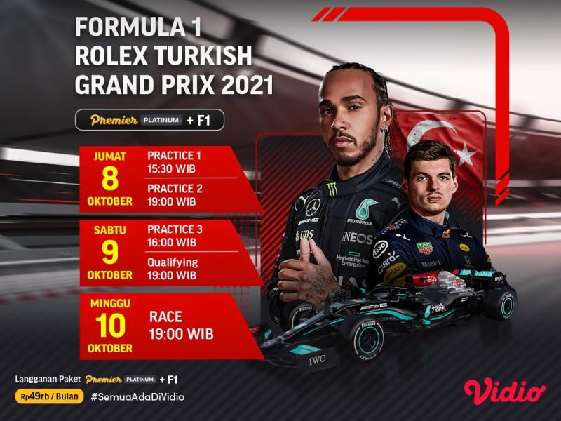 Tayang di Vidio, Ini Jadwal dan Link Live Streaming F1 Turki 2021