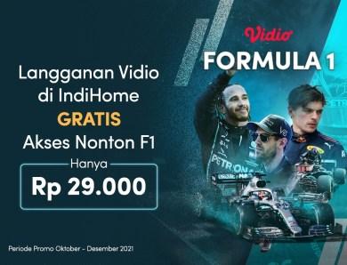 Paket Vidio Platinum Cuma 29 Ribu Di IndiHome, GRATIS Nonton Formula 1!