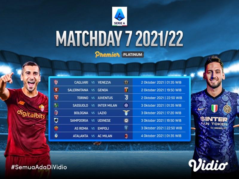 Jadwal Lengkap Live Streaming Serie A Italia 2021/22 Giornata 7