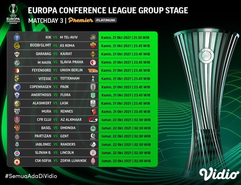 Jadwal Lengkap Live Streaming Liga Konferensi Eropa 2021/22 Pekan Ketiga