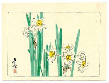 Shibata Zeshin - Hana Kurabe - White Daffodils 1878
