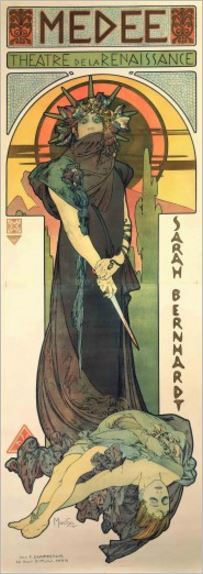 Poster of Sarah Bernhardt playing in Médée with Snake Bracelet by Fouquet & Mucha