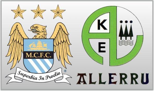 Jugadores del Manchester City felicitan  al Allerru, un equipo Gipuzkoano de Regional preferente, por su 50 aniversario