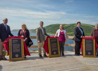 © Submitted photo The UNESCO World Heritage plaques were unveiled in the Town of Red Bay today, during an official ceremony.(L-R) Mr. Bill Goulding, Department of Fisheries and Oceans; Ms. Lael Hird, Town Resident; The Honourable David Wells, Senator, Government of Canada; Her Worship Wanita Stone, Mayor of Red Bay; The Honourable Nick McGrath, Minister of Transportation and Works and the Minister responsible for Labrador and Aboriginal Affairs; and Robert Grenier, Chief Underwater Archaeologist with Parks Canada, Retired.