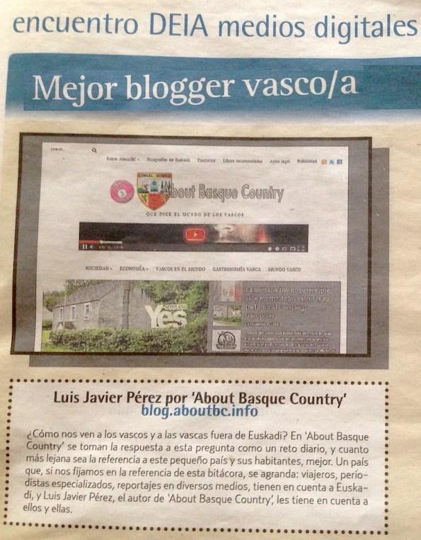 """AboutBC nominado para el premio """"mejor blogger vasco/a"""" de DEIA"""