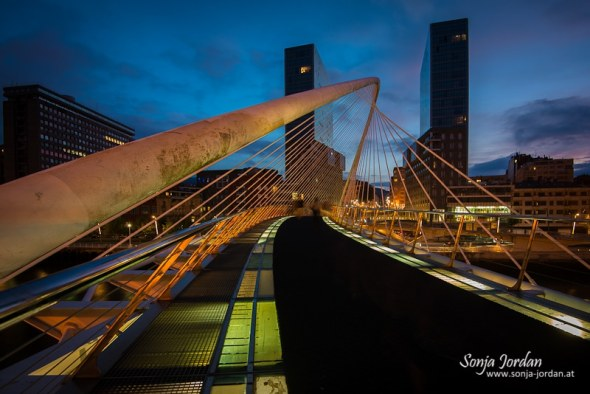 Imagen nocturna del Puente Zubi-zuri y de las Torres de Isozaki, por Sonjan Jordan