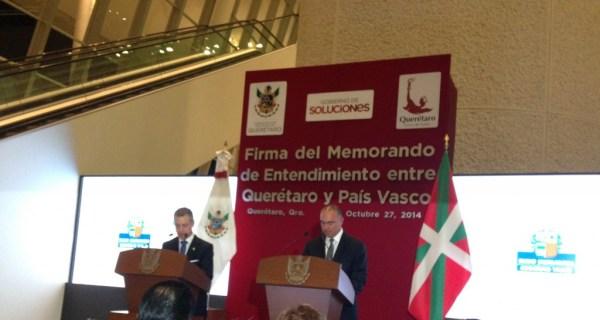 El gobierno del estado de Querétaro y el País Vasco firmaron el memorándum de acuerdo para una relación bilateral entre ambos pueblos,