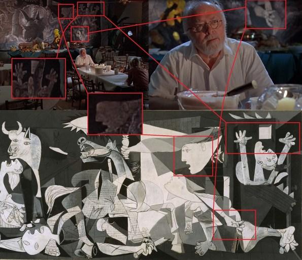 Una comparativa del mural de Jurssic Park en pleno proceso de realización y el Guernica de Picasso