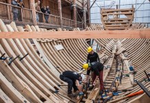Shipwrights at work on Nao San Juan, a reconstruction of a 16th-century Basque whaling ship currently being built at Albaola