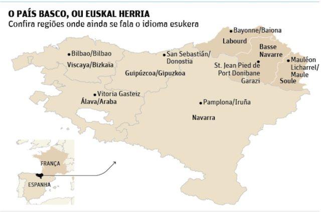 Mapa de Euskalherria en la Folha de Sao Paulo