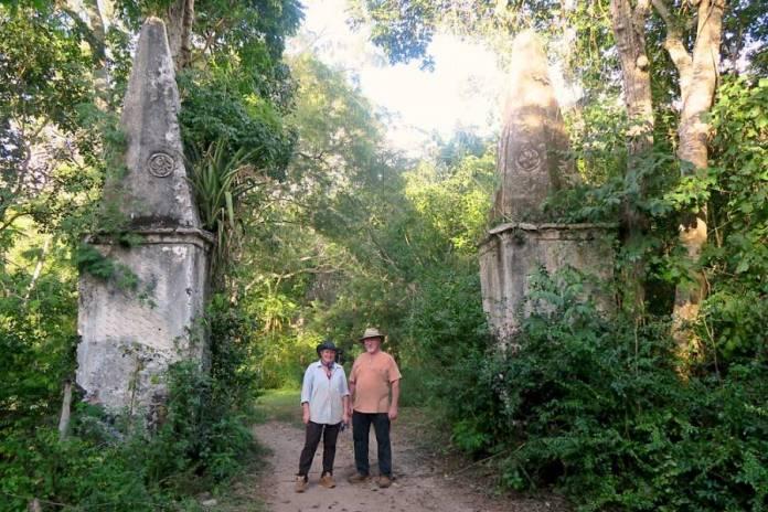 Entrance to the ruins of Hacienda Santa Maria and the lauburus carved on its stone columns