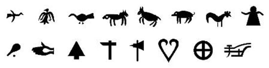 "Icons that reproduce images found on ""kutxas"" that are symbols in the ""Euskara"" font"