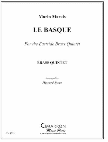 "Cover of sheet music to Marin Marais' ""Le Basque"""