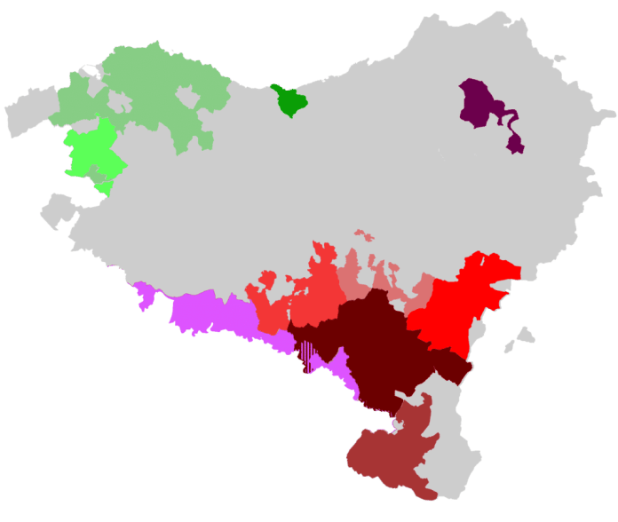 Map with Wine denominations in the Basque Country. Euskal Herrian denominazioa duten ardoen mapa. (Wikipedia)