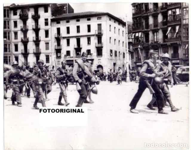 Rebel troops entering Bilbao, June 1937.