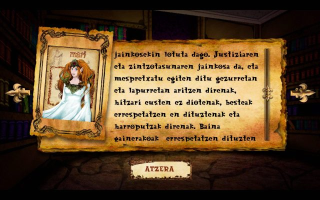 Card explaining the goddess Mari in the game Sorginen Erronkak
