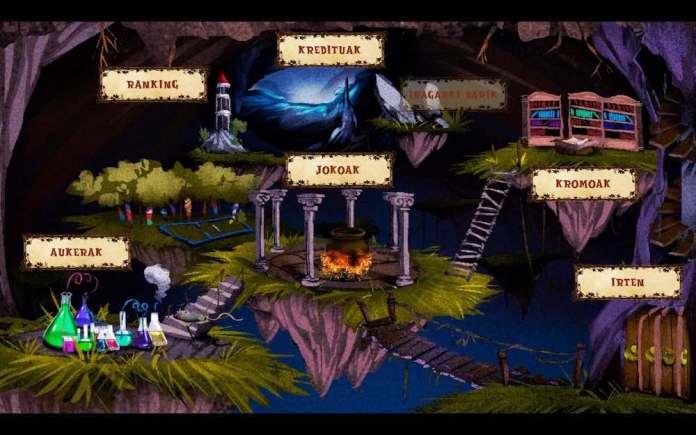 Game menu for the mobile game Sorginen Erronkak