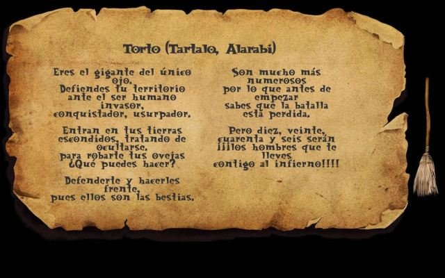 Poesía dedicada a Tartalo en el juego Sorginen Erronkak