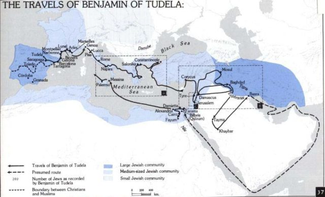 The route of the travels of Benjamin of Tudela