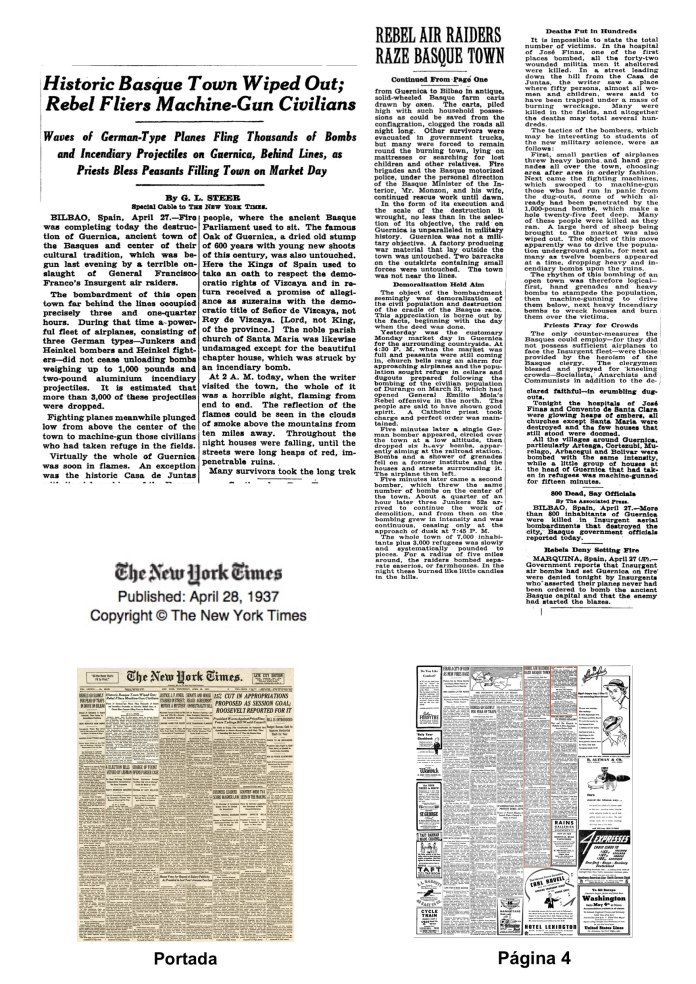 New York Timesen 1937ko apirilak 28an argitaratutako George L.Steeren kronikak. Aurrealdea eta 4.orrialdea.