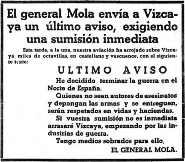 Warning from the insurgent Mola to the people of Biscay