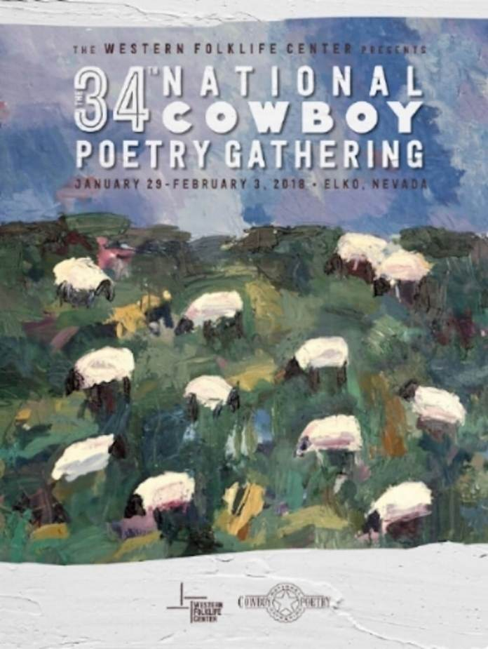 "Poster for the 34th Annual National Poetry Gathering by Theodore ""Ted"" Waddell"