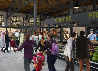 A rendering of the interior of the Keg & Case Market at the Schmidt Brewery complex in St. Paul (Minnesota)