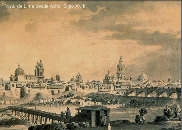Lima vista desde Acho (siglo XVII) [El Rímac y el proceso urbano de Lima virreinal (S. XVI-XIX) de Isaac D. Sáenz.]