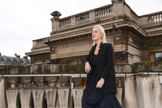 Miren Arzalluz, the new curator, at the Palais Galliera, the city of Paris's fashion museum. Credit Elizabeth Pantaleo for The New York Times