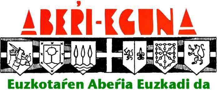 Aberri Eguna. Logo de los años 30 con los escudos de los territorios vascos y el lema del renacimiento de la Patria