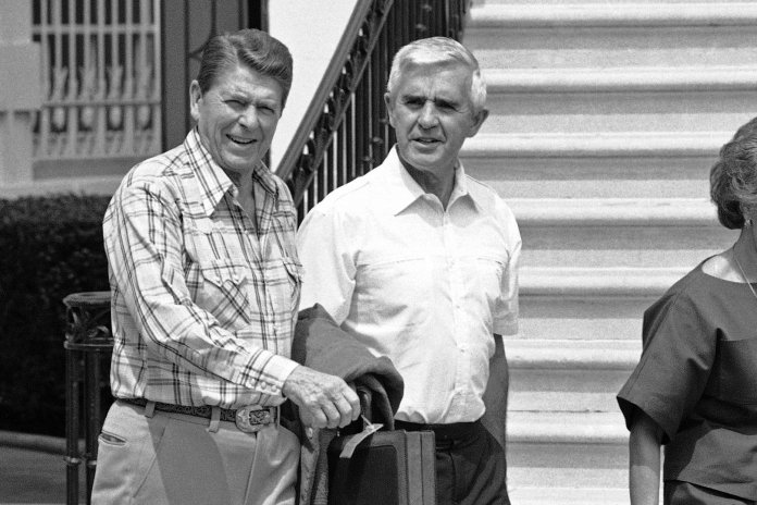 Ronald Reagan and Paul Laxalt at the White House in 1984. The two became friendly when they were governors of neighboring states.CreditBarry Thumma/Associated Press