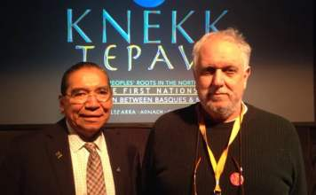 Stephen Augustine, Cape Breton University's associate vice-president of Indigenous Affairs and Unama'ki College (left) and Xabi Otero, director of Jauzarrea. (Holly Conners/CBC)