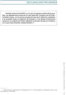 Declaración preliminar del primer Congreso Mundial de Colectividades Vascas (1999) presentado por Paco Igartua