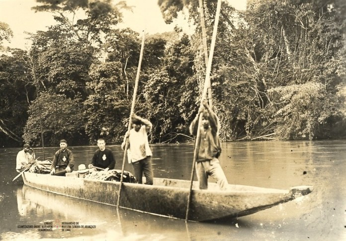 Passionist Fathers sailing the rivers of the Peruvian Amazonia