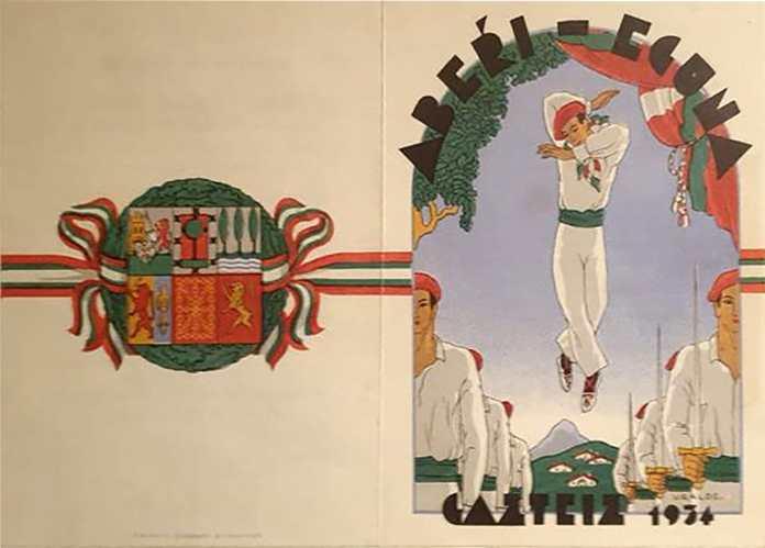 Aberri Eguna 1934 -Gasteiz - Portada del díptico del programa de actos (Obdulio López de Uralde)