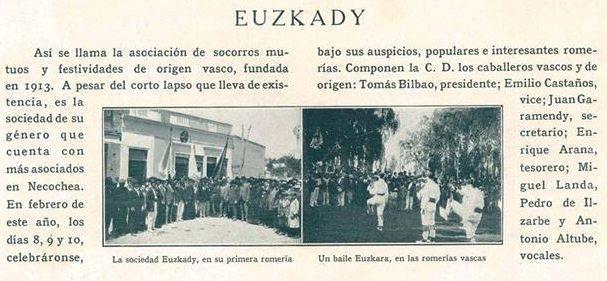 Sociedad de Socorros Mutuos y Festividades Euzkady en Necochea