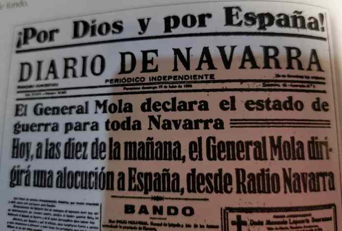 Diario de Navarra 19 de julio. Bando de Mola