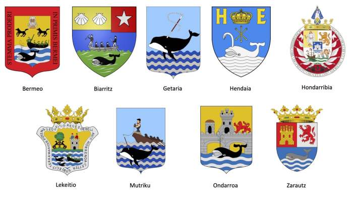 Escudos puertos balleneros vascos