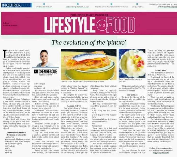 Artículo de Reggie Aspiras sobre el webinar de pintxos en su columna de gastronomía «Kitchen Rescue» del diario Philipine Daily Inquirer