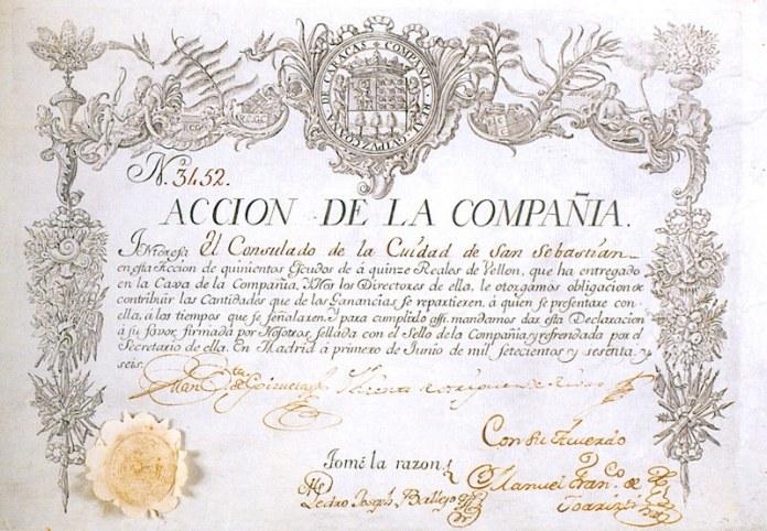 Acción de la Real Compañía Guipuzcoana de Caracas. 1766