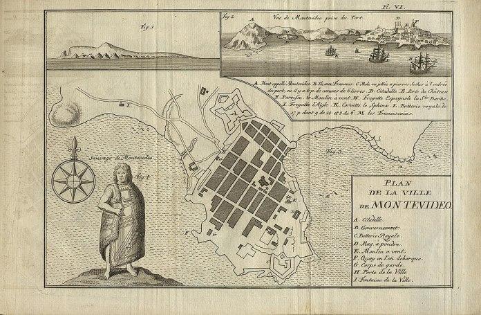 Mapa y vista de Montevideo hacia la década de 1760