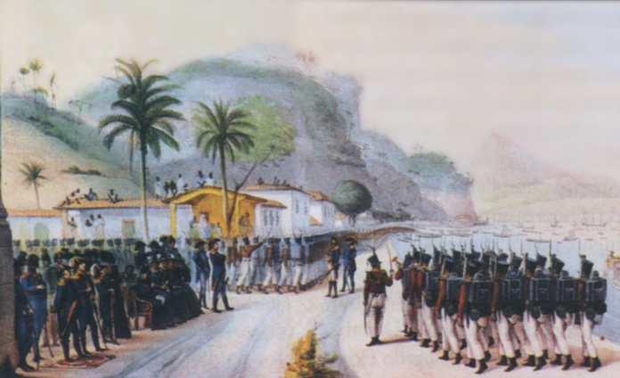 """""""Revista das Tropas Destinadas a Montevidéu na Praia Grande"""" - Embarque de la Infanteria portuguesa,en Ponta da Areia, Praia Grande, Rio de Janeiro, el 7 de Junio de 1816."""