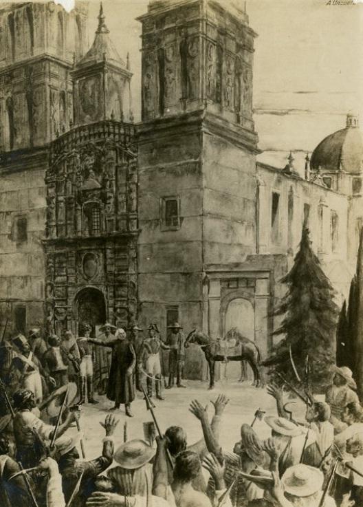 Miguel Hidalgo y Costilla antes del grito de Dolores, pintura de Unzueta