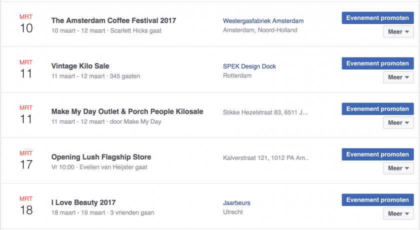 Evenementenlijst Facebook About Beauty and Fashion