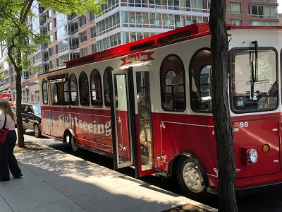 trolley bus parked