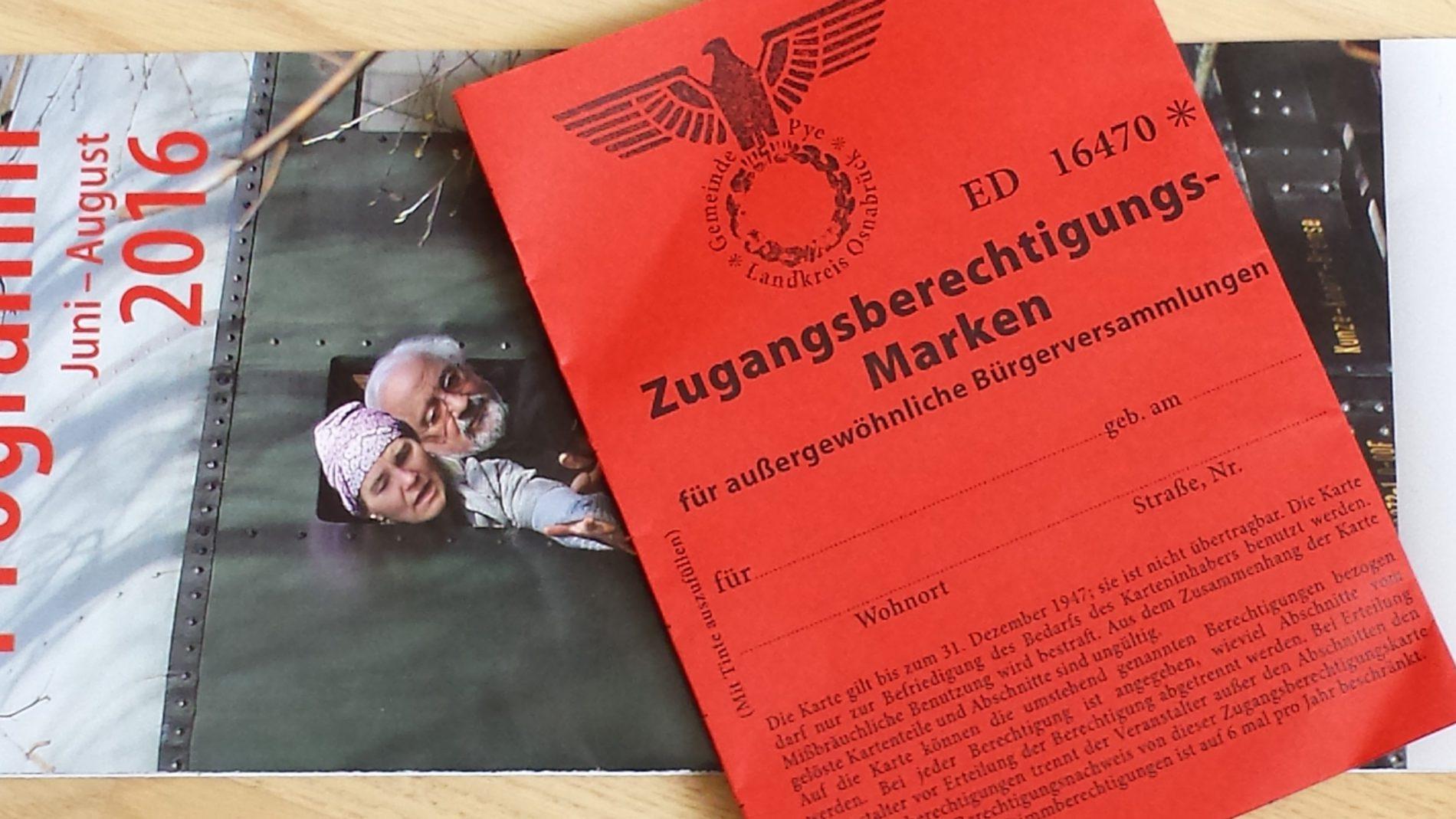 """Eintrittskarte und Berechtigung für die erste """"Bürgerversammlung"""""""