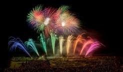 Feuerwerkswettbewerb in Hannover, Bunte Lichter erstrahlen den Nachthimmel