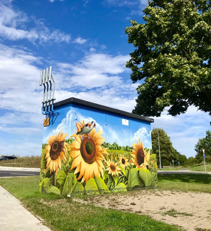 Trafostation mit Sonnenblumen